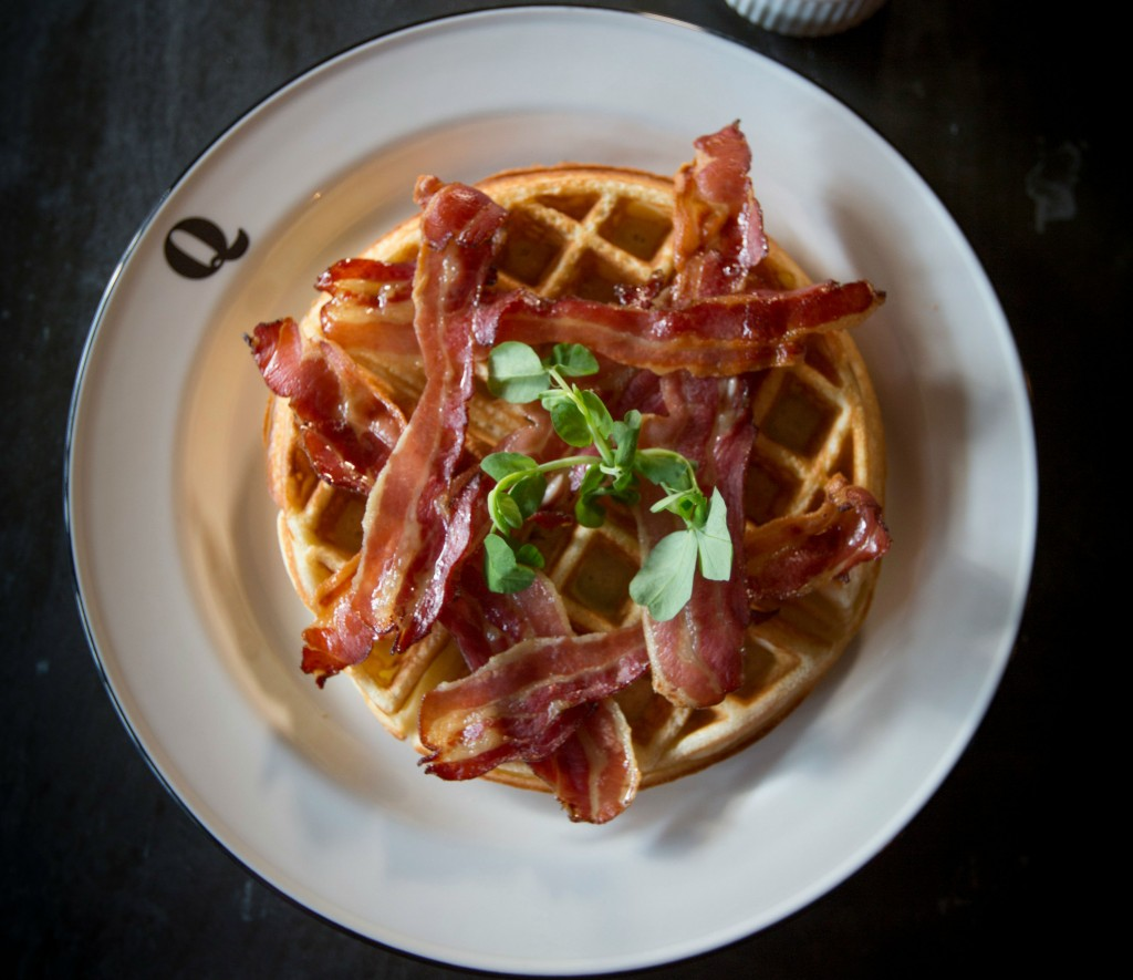Waffles Sweet Cured Bacon Maple Syrup