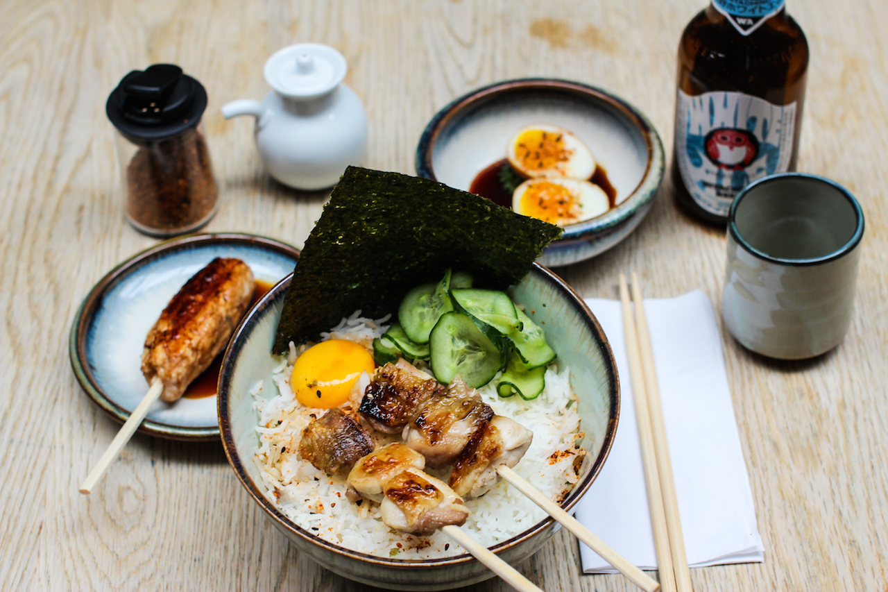 Yakitoridon - lunch time special of 2 skewers, pickles, rice and an egg