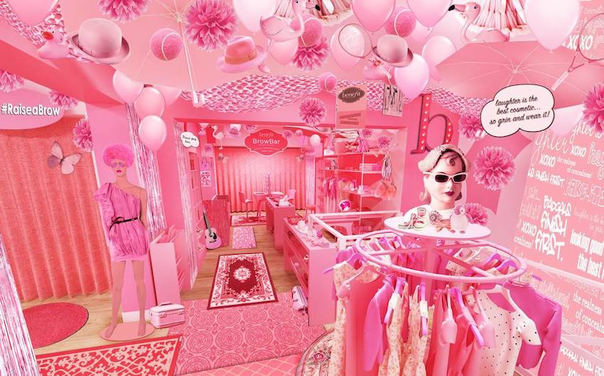 benefit all pink charity shop   london on the inside