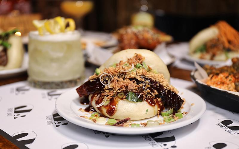 Close up of Pork Bao bun