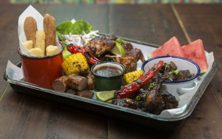 Food Platter at Caribbean Smokehouse