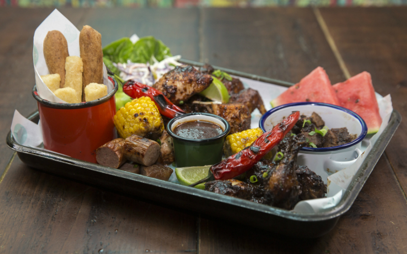 Food Platter at Caribbean Smokehouse