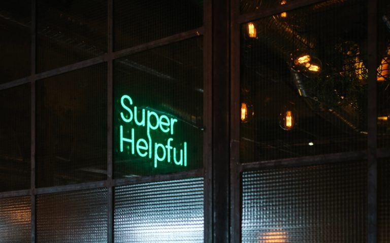 A signing saying 'Super Helpful'