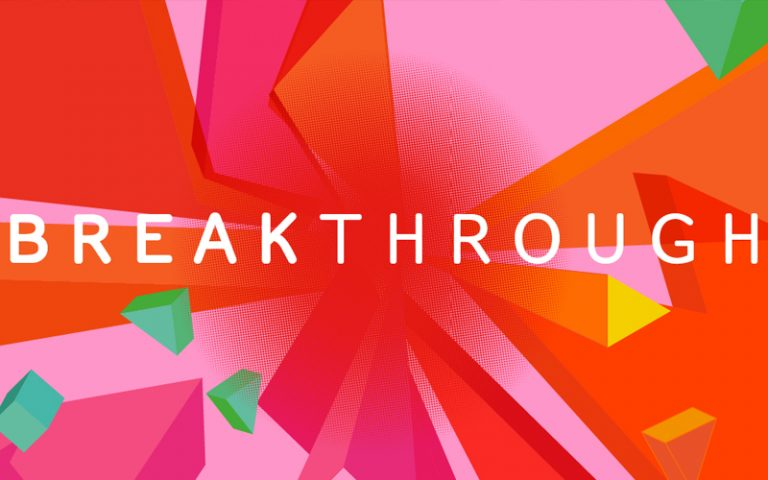 the words 'breakthrough' on a colourful background
